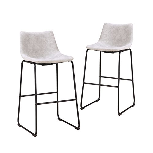 LCH 29 Inch Vintage Metal Pub Bar Stools - Set of 2 Wear-resistant Fabric Barstools with Durable Frame and Floor Protector, Grey