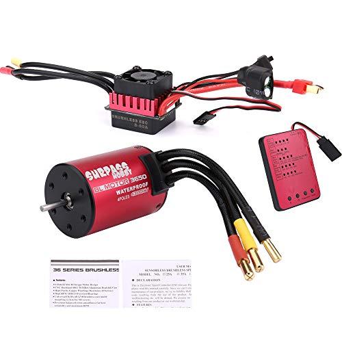 Powerful 4300KV Pro Brushless Motor+60A ESC for 1/10 RC Car Waterproof-3650 (Motor+ESC+Program Card)