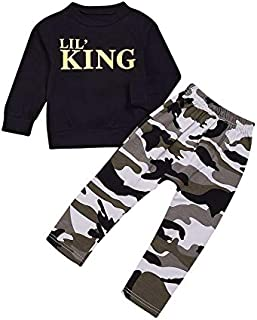 2pcs Boys Letter & Camouflage Pattern Long Sleeves T-Shirt & Long Pants Outfit