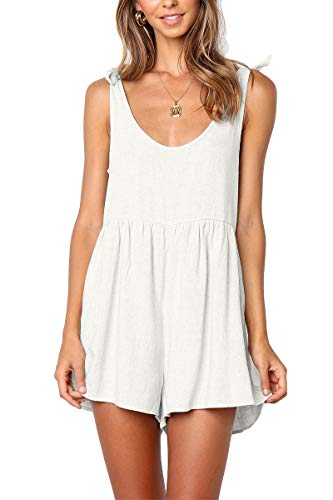 For G and PL Womens High Waisted Pocket Casual Plain Sleeveless Loose Zipper Cute Tie Strap Short Jumpsui Romer White M