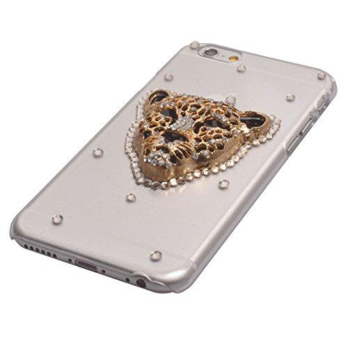 Voguecase® 3D Strass Hülle Case Cover für Apple iPhone 6 4.7 Zoll (Harte Rückseite) Leopard Kopf + Gratis Universal Eingabestift