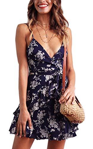 Angashion Women's V Neck Spaghetti Straps Floral Print Mini Dress Sexy Sleeveless Tie Waist Maxi Sundress Navy Blue L