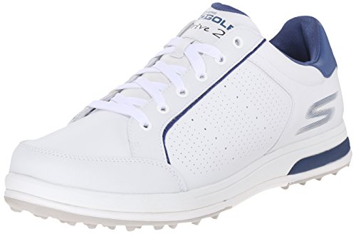 Skechers Performance Men's Go Golf Drive 2 Golf Shoe, White/Navy, 7 M US 53546
