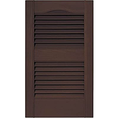 PCI Enterprises 12 in. Vinyl Louvered Shutters in Federal Brown - Set of 2 (12 in. W x 1 in. D x 60 in. H (6.2 lbs.))