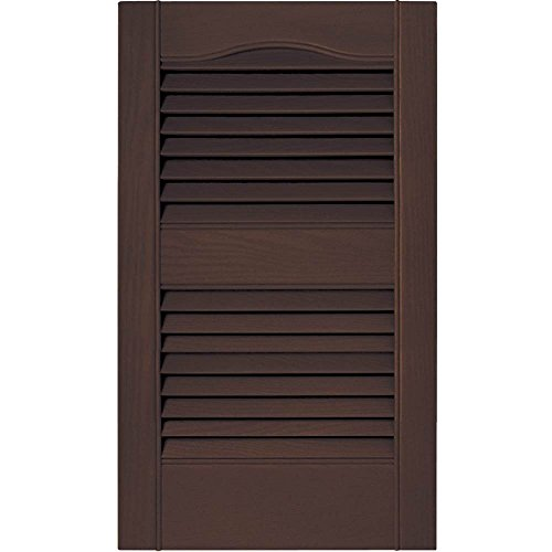 - PCI Enterprises 15 in. Vinyl Louvered Shutters in Federal Brown - Set of 2 (14.5 in. W x 1 in. D x 59.75 in. H (6.05 lbs.))