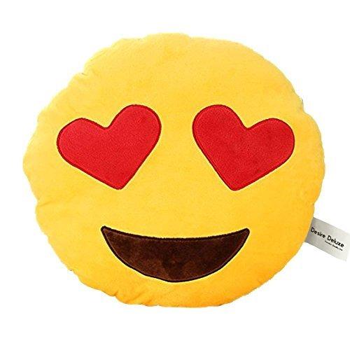 Desire Deluxe Cojín Emoticono Corazón Ojo Sonriente - Almohada o Peluche Emoji Cariñoso en Forma de Emoticon Corazón Ojo 100% de Satisfacción o ...
