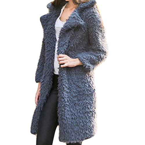 Warm Long Cardigan Coat Grigio Sleeve Donna Outwear Loose Yying Knitted Solid B58YtRqn