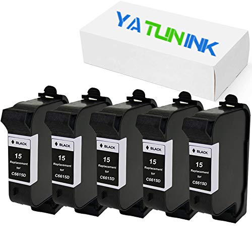 YATUNINK Remanufactured Ink Cartridge Replacement for HP 15 C6615DN (5 Black, 5 Pack)