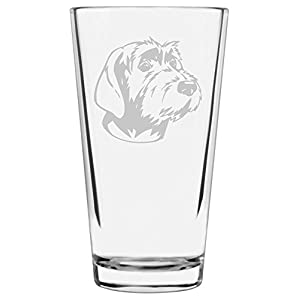 Wirehaired Pointing Griffon Dog Themed Etched All Purpose 16oz Libbey Pint Glass 16