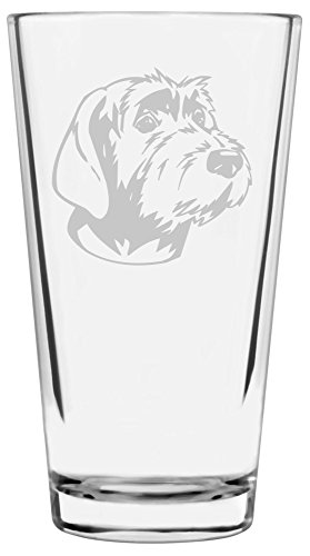 Wirehaired Pointing Griffon Dog Themed Etched All Purpose 16oz Libbey Pint Glass