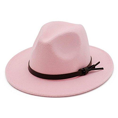 Hat Pink Fedora (Lisianthus Women Belt Knot Fedora Hat Pink)