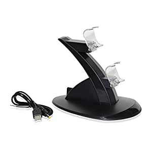 REYTID Charging Dock Compatible with PS4 Twin Floating Controller LED - Wireless Battery Charge Cradle - Dual Station