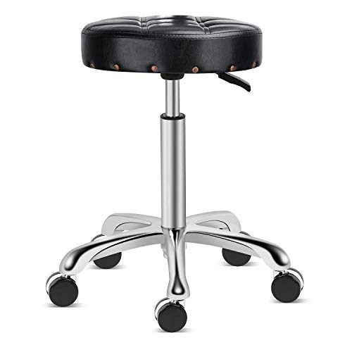 Kaleurrier Stools with Wheels,Rolling Swivel Hydraulic Adjustable Height Heavy Duty Metal Cushioned 400 lbs. Capacity High Stool Chair for Salon Home Kitchen Massage Office Clinic Medical ()