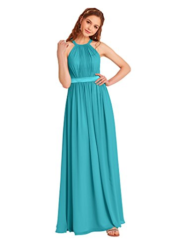Alicepub Long Bridesmaid Chiffon Dress Halter Evening Gowns for Women, Turquoise, US12