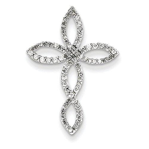Or blanc 14carats Diamant Pendentif Croix