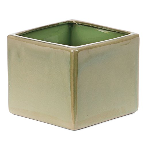 Skalny Square Green Ceramic Planter, 6