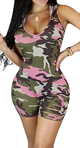 Cruiize Women V-neck Sleeveless Hoodie Ripped Hole Sexy Jumpsuits Camouflage L