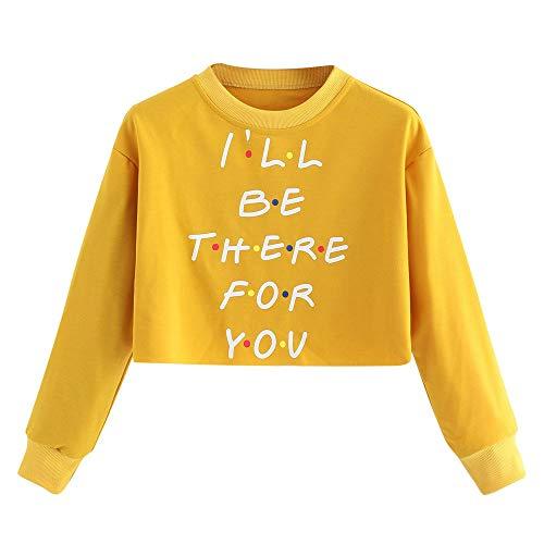 Cenglings Women's Letter Print Drawstring Pullover Long Sleeve Raglan Sweatshirt Yellow Blouse ()