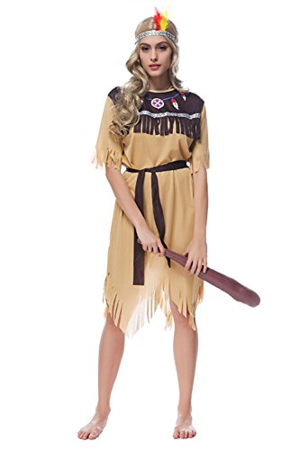 Sinastar Halloween American Indian Princess Cosplay Costume Natives Savage Dress-up Party Ball Uniforms Temptation (Medium) (Princess Jasmine Costume Adults Plus Size)