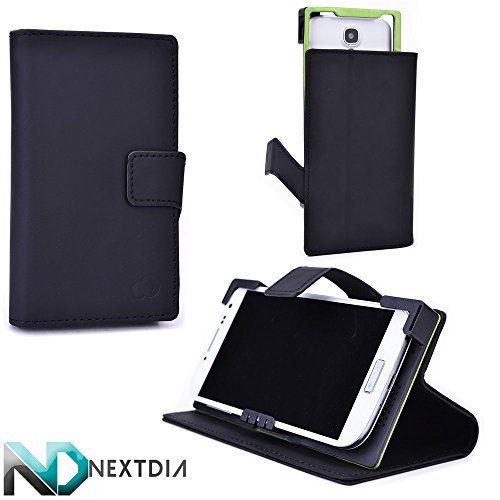 Universal Smartphone Case, Oppo Find 7 , Black Tar with Kickstand Option + ND Cable Tie