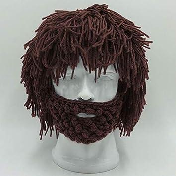 a08148bab39 Cool Gift Wig Beard Men s Hats Hobo Mad Scientist Caveman Handmade Knit  Warm Winter Caps Men