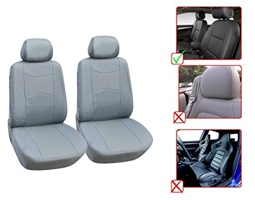 Opt Brand  Leather Like 2 Front Car Seat Covers Compatible To Toyota Avalon Corolla Echo Fj Cruiser Land Cruiser Prius Prius C Prius V Rav 4 Sequoia Tacoma Yaris  L1510 Grey