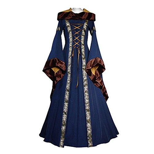 KASST Halloween Cosplay Costume Renaissance Medieval Irish Costume Over Dress Dress Gothic Dress (XXL, blue) 2018