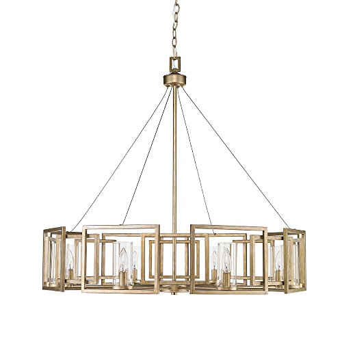 - Golden Lighting 6068-8 WG Marco WG - Eight Light Chandelier, White Gold Finish with Clear Glass