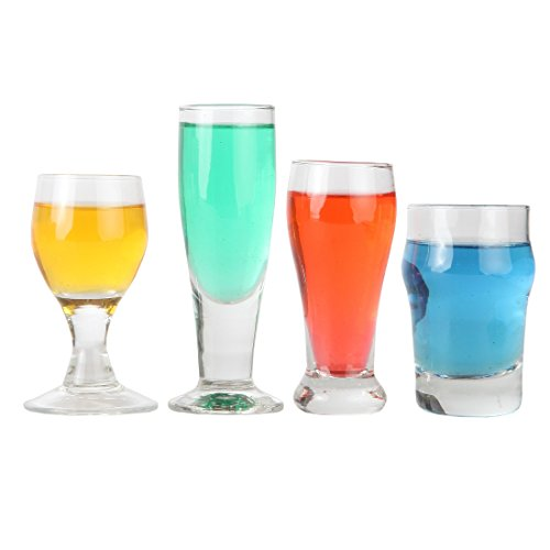 (Lily's Home Mini Craft Beer Shot Glasses, Just Like the Real Deal Except Smaller, A Useful Gift and Conversation Piece for Beer Tasting Aficionados, Clear (2 3/4