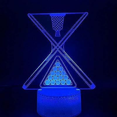 ZYBZYB 3D Lámpara de óptica ilusión Snooker Bola de billar Led Luz ...