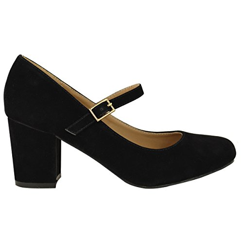 Formal Jane Dolly Strap Mary Womens Mid Black Thirsty Shoes Size Block Pumps Office Faux Suede Work Heel Fashion gAYzwqn
