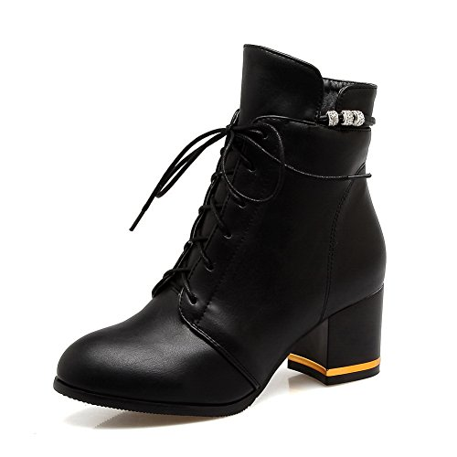 Balamasa Mujeres Zipper Comfort Botas Urethane Botas Negro