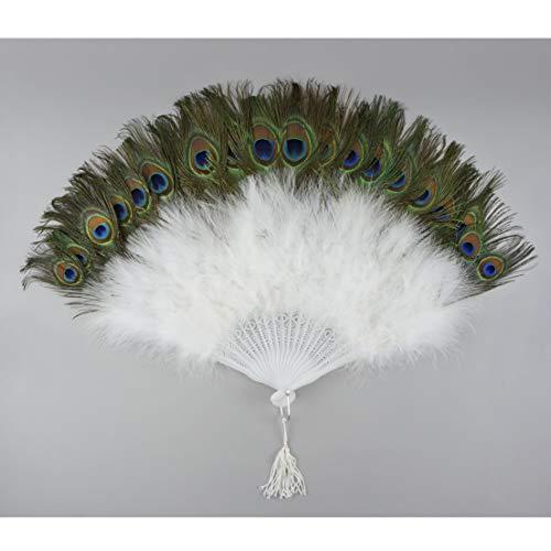 Peacock Eye Feather Hand Fan - White Folding Fan Dance Wedding Home Decor -