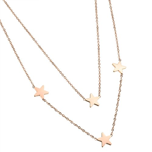 D.B.MOOD Double Layer Necklaces 18K Rose Gold Plated Stainless Steel Stars Chain Necklace for Women Rose gold Double Star Necklace