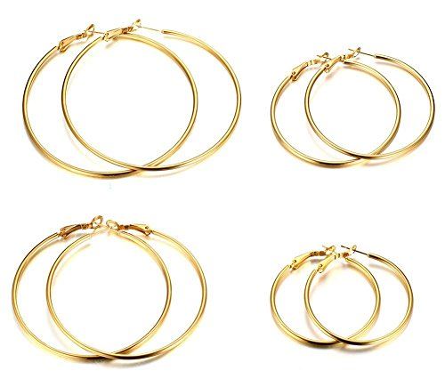 Gold Tone Wire Earrings - MG Stainless Steel Gold-tone Large Simple Thin Wire Hoop Earrings for Women, 4 Pairs Set