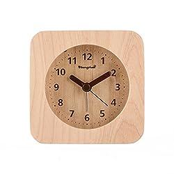 Henghui Nature Wood Triangle Non Ticking Analog Quartz Alarm Clock with Nightlight, Snooze and Ascending Sound Alarm (Natural Wood, Square)