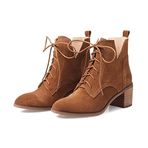 GTYW Ladies High Heels Women's Boots Women's Boots Autumn and Winter New Leather Shoes Lace Rough With Round Head With Casual Martin Boots LightBrown