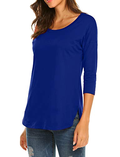 Sherosa Women's Casual 3/4 sleeve Loose Tunic Tops Scoop Neck T-Shirt (L, Blue1) (Scoop Top Neck 3/4 Sleeve)