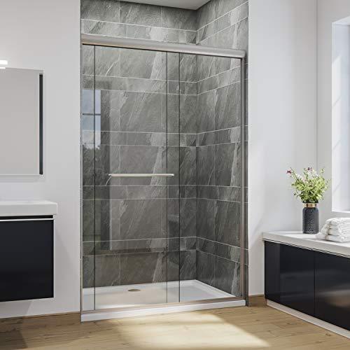 SUNNY SHOWER Bypass Sliding Shower Door Semi-Frameless Shower Enclosure 1/4