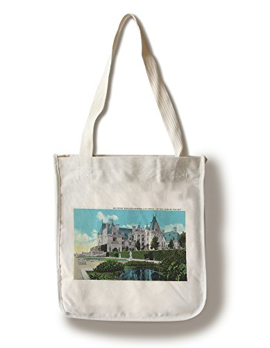 Asheville, North Carolina - Exterior View of the Biltmore Mansion with Lily Pools (100% Cotton Tote Bag - Reusable, Gussets, Made in - Asheville Carolina North In Shopping