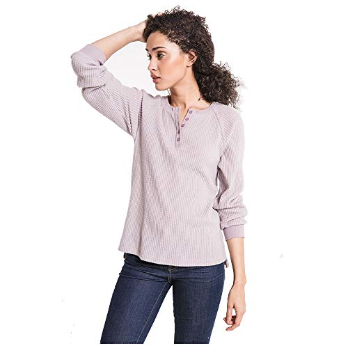 - Z SUPPLY Clothing Women's The Waffle Thermal Long Sleeve Henley, Mystic Mauve (MSTCMVE/MYM), Medium