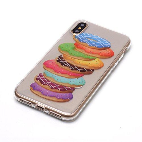 Hülle iPhone X , LH Melaleuca Donuts TPU Weich Muschel Tasche Schutzhülle Silikon Handyhülle Schale Cover Case Gehäuse für Apple iPhone X