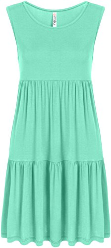 Mint Green Casual Summer Sundress T Shirt Dress Reg and Plus Size Jersey Babydoll Scoop Neck Summer Dress, Mint Sleeveless, 3X