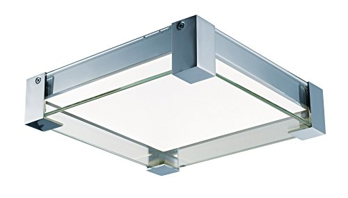a LED 4-Light Flush Mount Bath Vanity, Polished Chrome Finish, Clear Glass, PCB LED Bulb , 60W Max., Dry Safety Rating, Standard Dimmable, Shade Material, Rated Lumens (Vista 4 Light Bath)