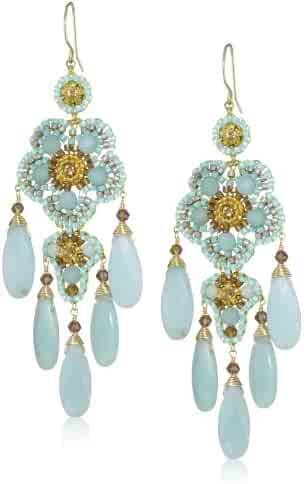 1bf9c226b Miguel Ases Gold-Filled Amazonite, Crystal, and Glass Bead Chandelier Drop  Earrings