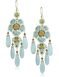 Gold-Filled Amazonite, Crystal, and Glass Bead Chandelier Drop Earrings