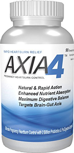 Pregnancy Heartburn, Natural Antacid Supplement For Acid Reflux and Heartburn, Axia4 ProDigestive Heartburn Relief with enzymes and probiotics, Designed to wean of prescription antacids.
