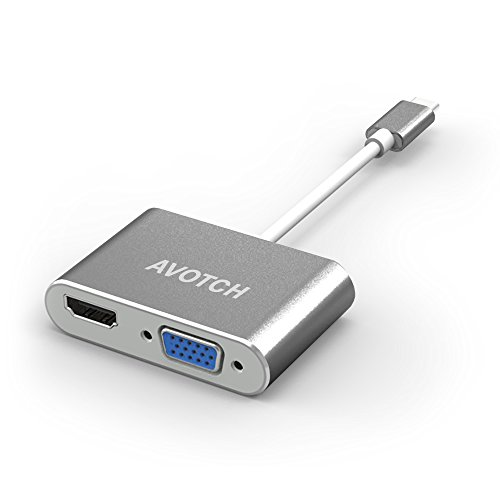 USB Type C to HDMI VGA Adapter,AVOTCH 2 in 1 USB3.1 Type-C Converter Dual screen display with Aluminium Case,l - Grey