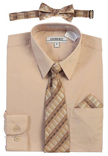Gioberti Boy's Long Sleeve Dress Shirt and Plaid Tie Set, Khaki, Size 10
