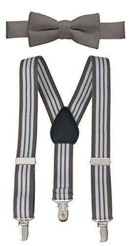 New Cummerbund - Hold'Em Suspender and Bow Tie Set for Kids, Boys, and Baby - Proudly Made in USA - Extra Sturdy Polished Silver Metal Clips, Pre Tied Bow Tie-Grey Striped 30